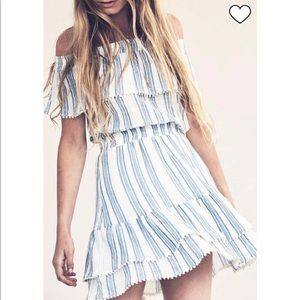LoveShackFancy Elizabeth blue stripe dress S